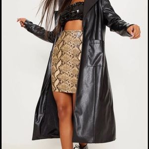 Snake print Faux Leather Skirt